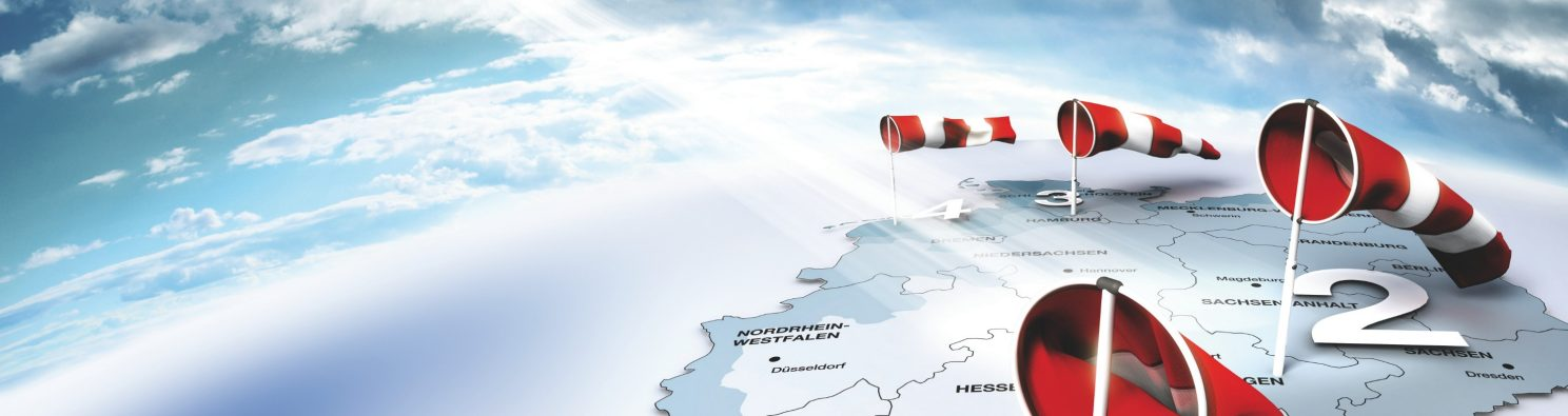 Map of Germany with Wind Flags